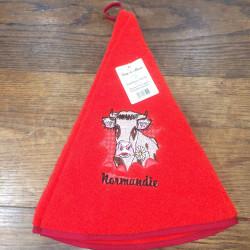 Torchon cloche Normandie vache rouge
