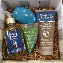 Panier Thalasso n°1 (shampoing, douche gommante, berlingot concentré d'algues, savon)