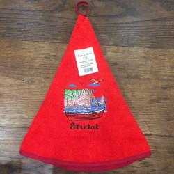 Torchon cloche Etretat rouge