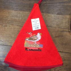 Torchon cloche Normandie goéland  rouge